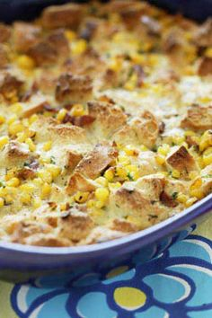 Corn and Cream Savory Bread Pudding - Viking Range Corporation Savoury Baking, Savoury Cake, Brunch Egg Dishes, Savory Bread Puddings, Baking Quotes, Bread And Butter Pudding, Kitchen Recipes, Vegetable Dishes, Fall Recipes