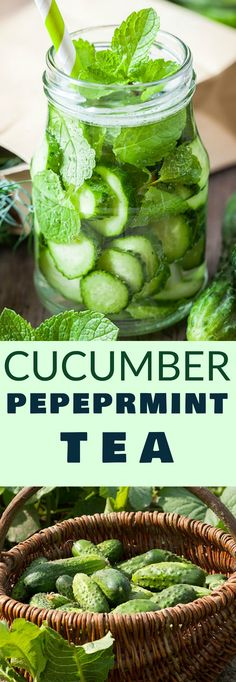CUCUMBER PEPPERMINT Tea is my favorite Summer drink! This homemade cup of green tea includes cucumbers, peppermint, honey and a splash of lemon juice to make a healthy and fresh drink. You can drink it hot or iced. The health benefits of this tea are great so I love drinking it every morning!
