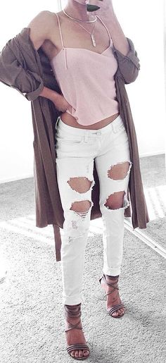 Forever 21 Light pink blouse, AG white jeans, brown sleeveless vest, lace up suede booties or nude j Campbell lace up with chunky heel