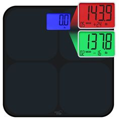 Smart Weigh SMS500 Digital Bathroom Scale, High Accuracy, Dual Color Weight Change Detection and Smart Step-On Auto Recognition for 8 Users, Black