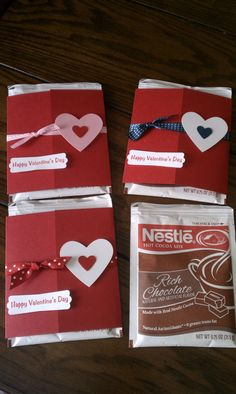Hot Chocolate Valentine Favors - Set of 20, Valentine's For Kids, Valentine's for Classmates, Kids Valentine Treats. $20.00, via Etsy.