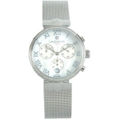 Lancaster Wrist Watch (£563) ❤ liked on Polyvore featuring jewelry, watches, white, logo watches, white wrist watch, white watches, lancaster watches and white jewelry