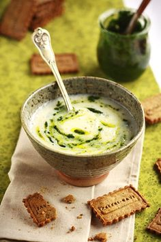Celery Soup with Pesto and Parmesan Biscuits | cuisine campagne,  may click translation tab