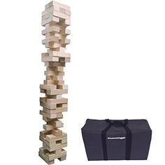EasyGO Giant Stack & Tumble Giant Wood Stacking & Tumble Tower Blocks Game Includes Heavy Duty Duffle Carry Bag, XX- Large,  Stacks to Over 5 feet Tall EasyGoProducts http://smile.amazon.com/dp/B00ZGS37FG/ref=cm_sw_r_pi_dp_JCn3wb1WBWSNZ