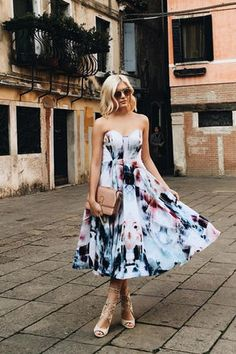 Bariano Floral Flux Ivory Floral Print Midi Dress at Lulus.com!