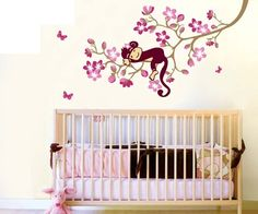 Sweet Home Vinyl  Removable Art Mural Wall Sticker Decal Monkey Flower Tree US