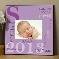 This frame is just too cute! You can personalize it with all of the baby's birth info (date, time, height, weight, etc.) and it comes in all different color options ... LOVE LOVE LOVE THIS! Great baby gift idea!