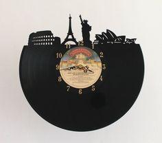 Handcarved around the world vinyl record clock by TikalTextiles