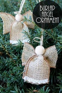 Make these angel ornaments from burlap in just minutes! An easy Christmas craft that anyone can make! easychristmascrafts : Make these angel ornaments from burlap in just minutes! An easy Christmas craft that anyone can make! Christmas Crafts To Make, Christmas Ornament Crafts, How To Make Ornaments, Christmas Angels, Simple Christmas, Handmade Christmas, Holiday Crafts, Christmas Gifts, Christmas Decorations
