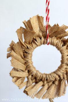 Burlap Wreath Ornament - made with a mason jar lid!