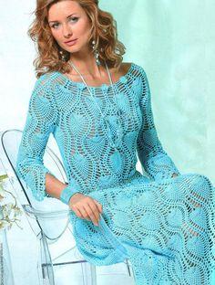 Vestido turquesa de piñas - 2 de 4