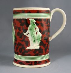 Creamware slip decorated commemorative mug, circa 1780. More stock available at www.martynedgell.com or follow us at www.facebook.com/martynedgellantiques