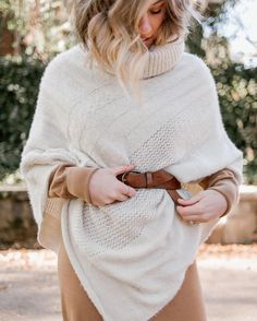 cozy sweater poncho, midi sweater dress, classic leather belt, women's fashion, women's style, Thanksgiving outfit | @louellareese
