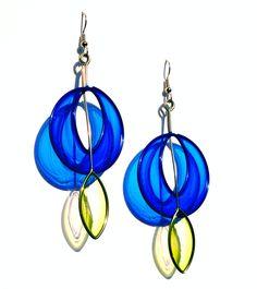Stainless Steel Dangle Earrings In Cobalt Blue and Light Green - Handmade Jewelry.