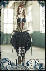 "Alice en Splendeur Dément - Alice in Wonderland costume & corset & jacket #heavyred.com - Love this ""Alice"" look!"