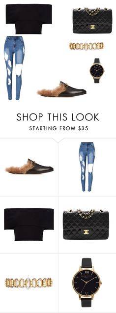 """Photo shoot"" by kkmahony ❤ liked on Polyvore featuring Gucci, Rosetta Getty, Chanel, Erickson Beamon and Olivia Burton"