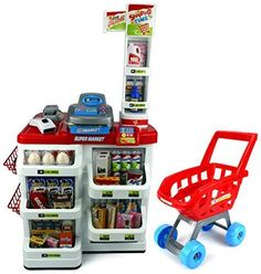 Velocity Toys Red Play House Super Market Children's Kid's Pretend Play Toy Food Play Set w/ Toy Cash Register, Working Scanner, Shopping Cart, Pretend Food and Money (Red) by Velocity Toys *** Details can be found by clicking on the image.