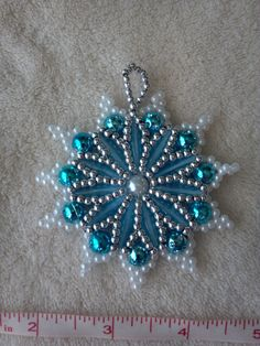 Light blue, Pearl and Silver Beaded Star Medallion Christmas Ornament