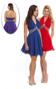 Multi Colours A-line Short Halter Dress [Dresses 10383] - $125.00 :