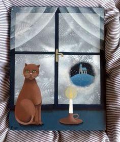Kukátkem+zamrzlého+okna+....+malba+akrylem+na+desce+30+x+23+cm