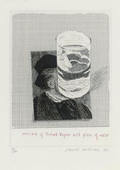 David Hockney (1937-) Postcard Of Richard Wagner With A Glass Of Water 1973 (212 x 151 mm)