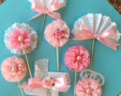 Gold and Pink Cupcake Toppers Set of Six for Birthday by JeanKnee