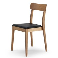 Inga Stackable side chair with upholstered seat, and frame in natural Beech or Oak wood.