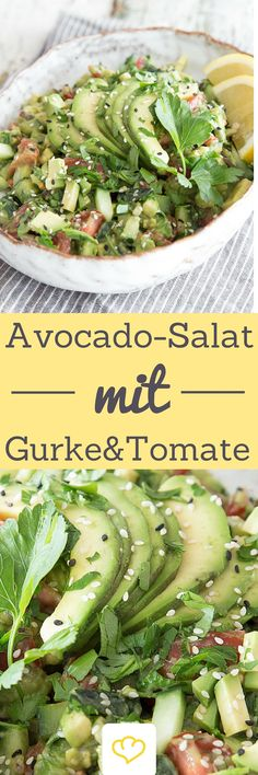 A salad for all avocado lovers! Refreshing, crunchy and creamy at the same time: based on the classic guacamole, this avocado salad trumps with aromatic tomatoes, freshly diced cucumber and parsley. Informations About Avocado-Gurken-Tomaten-Salat Pin … Healthy Recipes, Avocado Recipes, Raw Food Recipes, Salad Recipes, Vegetarian Recipes, Guacamole, Avocado Dessert, Avocado Smoothie, Cucumber Tomato Salad