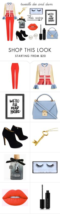 """""""Tweedle Dee and Dum"""" by taylorgarcia-iii ❤ liked on Polyvore featuring ESCADA, Alexander McQueen, Americanflat, Mark Cross, Giuseppe Zanotti, Torrid, Huda Beauty, Lime Crime, Marc Jacobs and AK Anne Klein"""