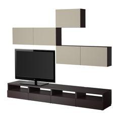 BESTÅ TV storage combination, black-brown, Vara beige black-brown/Vara beige 240x20/40x178 cm