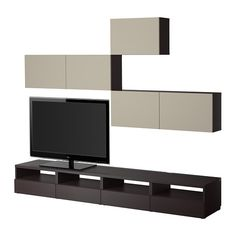 BESTÅ TV storage combination, black-brown, Vara beige black-brown/Vara beige 240x20/40x178 cm