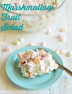 fruit salad made with canned fruit and marshmallows and cool whip