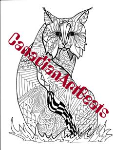 Coloring Page Downloadable Lynx cat Printable Art by CanadianArtBeats on Etsy