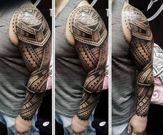 Incredible 3d Maori Male Tattoo Full Sleeve