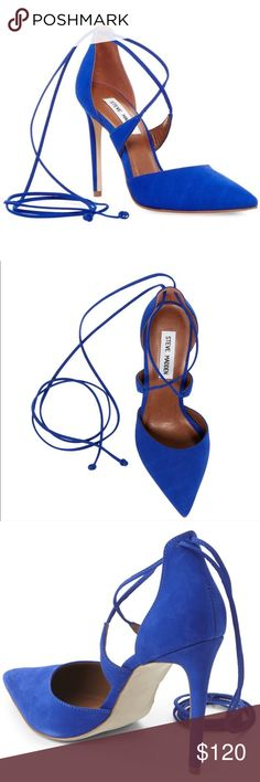 STEVE MADDEN Raela Pump Worn once indoors!  Gorgeous cobalt blue pumps with ankle ties. Box included.  ***Reasonable offers welcome*** Steve Madden Shoes Heels