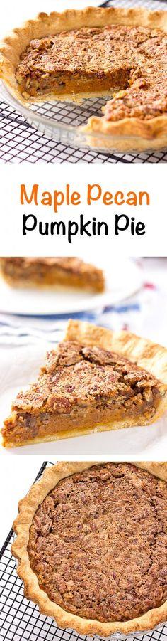 Maple Pecan Pumpkin Pie - layers of pie crust, pumpkin pie, and pecan pie on top.  #holiday #recipes