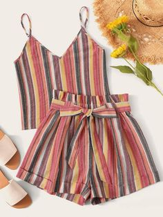 To find out about the Striped Cami Top & Paperbag Waist Shorts Set at SHEIN, part of our latest Two-piece Outfits ready to shop online today! Outfits For Teens, Summer Outfits, Casual Outfits, Cute Outfits, Pop Fashion, Fashion News, Fashion Outfits, Striped Cami Tops, Schneider