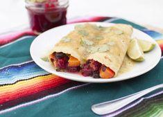 Spicy Cranberry Sweet Potato and Black Bean Enchiladas. A new holiday favorite in our home! Easy and delicious! (Also vegan - bonus! Bean Recipes, Vegetarian Recipes, Healthy Recipes, Free Recipes, Healthy Foods, Fat Free Vegan, Vegan Wraps, Vegan Tacos, Black Bean Enchiladas