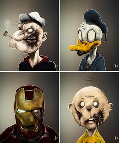 All this zombie shit just won't die. Living artist Andre de Freitas has created a new series of art prints featuring the zombified faces of an eclectic group of cartoon celebrities. UnDead Donald Duck, Batman, IronMan, Popeye, etc. Basically, all your dudes.