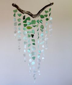 Sea Glass & Driftwood Mobile OMBRE Green by TheRubbishRevival