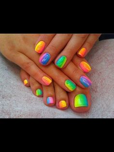 neon nails great when you have got a tan or with a black bikini