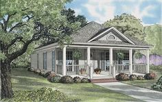 Trendy farmhouse house plans one story square feet ideas Small Cottage House Plans, Narrow Lot House Plans, Small Cottage Homes, Cottage Floor Plans, House Plans One Story, Country Style House Plans, Best House Plans, Small Country Homes, Cottage Style