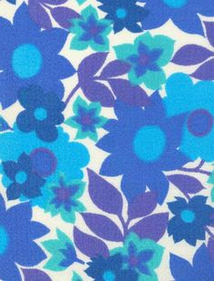 modflowers: fabric designed by Mirja Tissari 1965 blue purple aqua teal turquoise