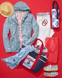 Weekend essentials. | Talbots Summer Outfits Floral Stripe, Striped Linen, Wide Leg Linen Pants, Color Stripes, Talbots, Summer Outfits, Leather Jacket, Style Inspiration