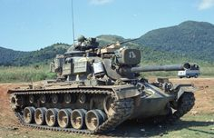 Tank 35, C/1/69 Armor, on strongpoint, Hwy 1 near LZ Uplift, late 1968.  Submission from a veteran. This is an M-48 Tank.