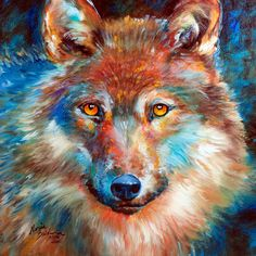 "TIMBER WOLF ABSTRACT 18""X18"" ORIGINAL OIL PAINTING by MARCIA BALDWIN"