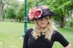 Heather - Lampshade style hat with plush velvet lace over a pink fabric.