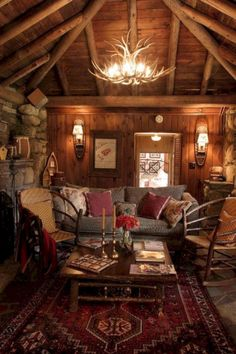 Western red rustic cabin living family room, Looks so cozy. Western red rustic cabin living family room, Looks so cozy. Log Cabin Living, Log Cabin Homes, Log Cabins, Cozy Cabin, Cozy House, Diy Log Cabin, Cabin Chic, Home Design, Design Ideas