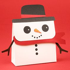 Snowman paper favor box. (Would be cute to make with just a white lunch sack too! vj)
