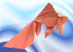 Origami Goldfish - Veiltail by Ronald Koh Folded from a square of gold wrapping paper by Gilad Aharoni on www.giladorigami.com